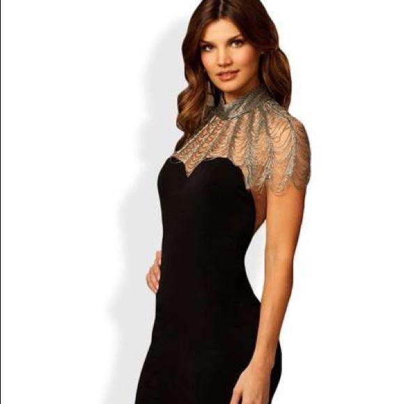 c2625c4248 JOVANI BLACK DRESS WITH SILVER BEADS!